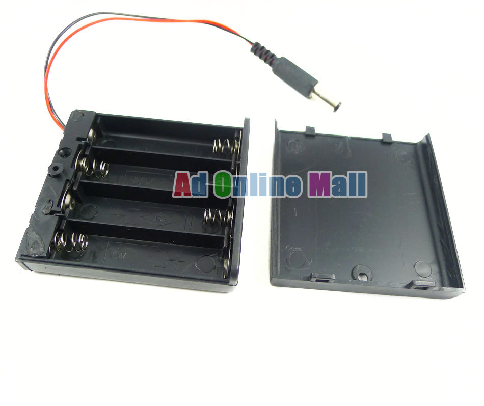 Чехол для аккумулятора 4 шт. AA батарея 6 в 15 см кабель 5,5*2,1 DC штекер