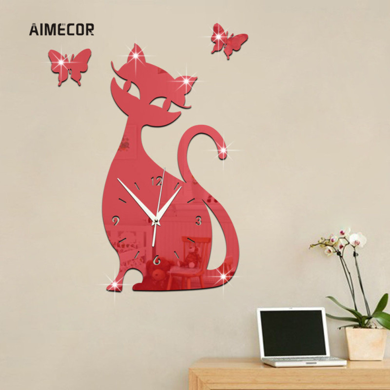 Aimecor Cat бабочка зеркало красный настенные часы АА батареи Зеркало Эффект часы домашнего декора часы 1 шт. цифровые часы