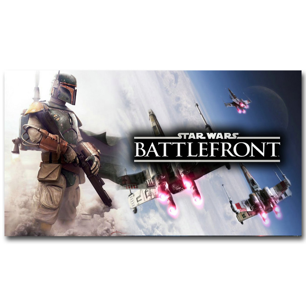 Boba Fett Sar Wars Battlefront 2 Art Silk Fabric Poster Print 13x24 24x43inch Hot New Game Picture for Room Wall Decor 119