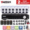 "Tmezon 16CH HDMI DVR 8*1200TVL  1/3""IR Cut  24leds  CCTV Security Camera Dome  Day Night Vision Outdoor camera system with 2TB"