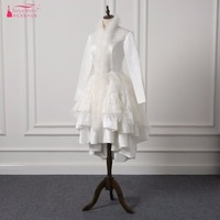 Gorgeous Feather Wedding Dresses Long Sleeve African Turkey Bridal Gowns Short Front Long Back Short Spring