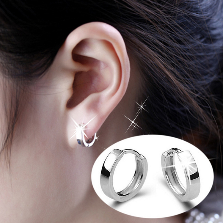 Fashion Korean Style Silver Plated Glossy Unisex Earrings Charming Jewelery Accessories