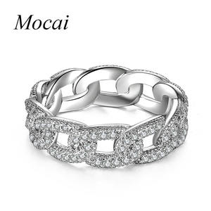 Mochai New Brand Jewelry Steampunk Silver Chain Rings for Women Luxury AAA Zirconia 0.6cm Punk Finger Jewelry for Party ZK55