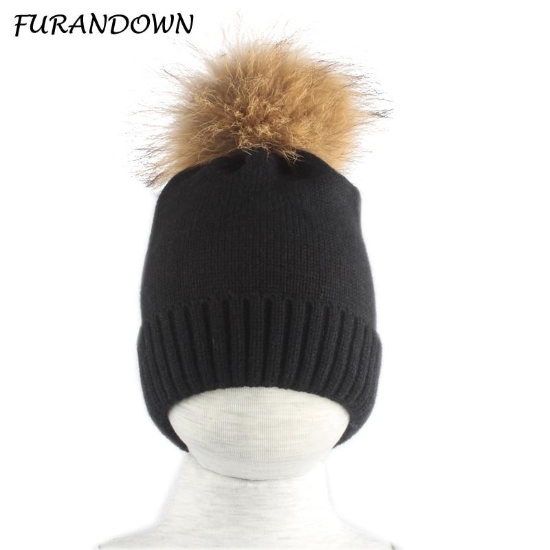 New Winter Hats For kids Girls Boys Big Fur Pompom   Beanie   Hat Children Warm Knitted   Skullies     Beanies