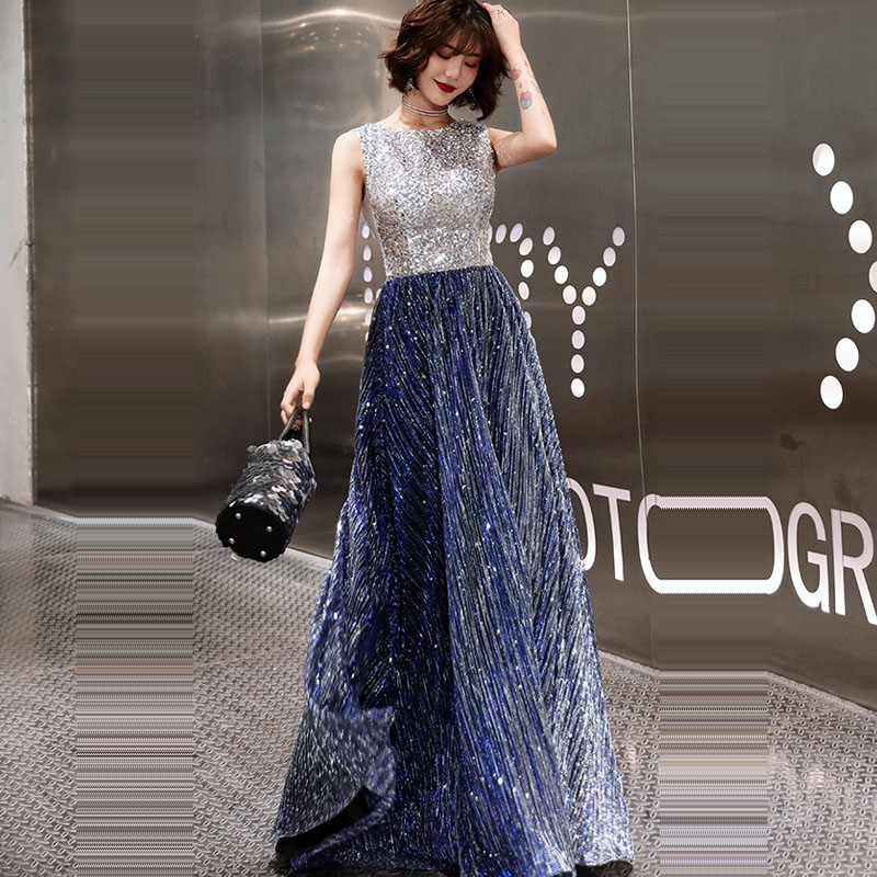 Prom     Dress   Sleeveless Zipper Women Party Night   Dresses   Sequin Elegant Vestidos De Gala 2019 Plus Size O-neck   Prom   Gowns E729