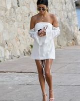 AEL White Mini Dress Women Sexy Boat Neck Off Shoulder Pencil Dresses Bra Backelss Summer Femme Wedding Clothing