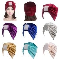 12PCS Winter Women Velvet Turban Hat Fashion Caps Head Wrap India Hats Ladies Muslim Solid Color Beanies Skullies Random Color