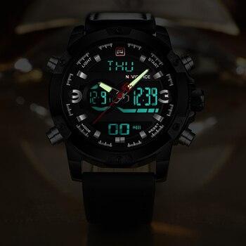 NAVIFORCE Men's Luxury Dual Time Display Waterproof Calendar Chronograph Leather Quartz Watches 1