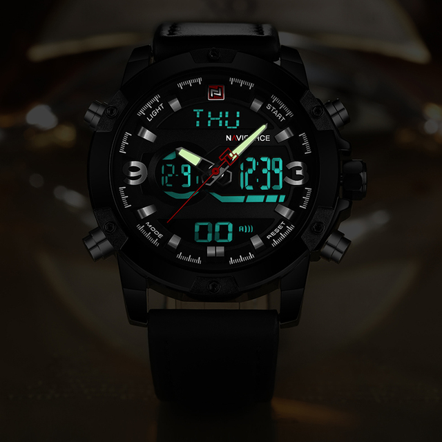 NAVIFORCE Men's Analog & Digital Leather Sports Watch