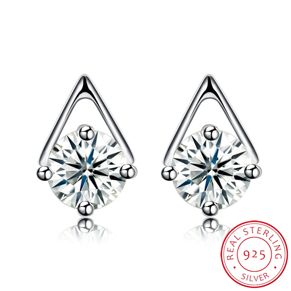 INALIS Fashion Ear Studs Beautiful 925 Sterling Silver Spike Stud Earring with Zircon Ea ...