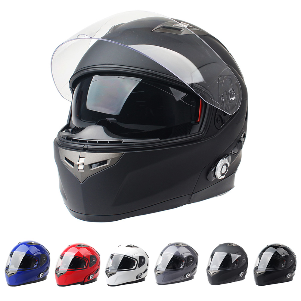 2017 New Motorbike Bluetooth Smart Helmet Motorcycle Integral Half Face Built in FM Intercom Device Support