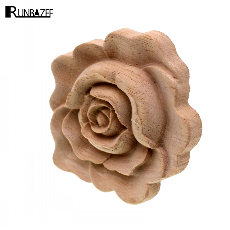 RUNBAZEF Furniture Wood Carving Appliques Vintage Nautical Decor Cabinet Door Solid Decals Flowers Pattern Carved Wooden