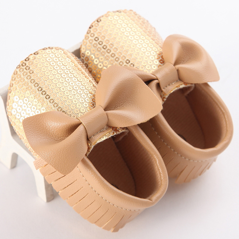 New Fashion Solid Color Bow And Tassel Plus Sequins Female Baby Toddler Shoes