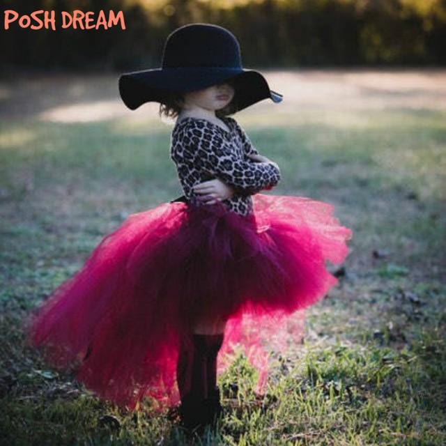00f59bb1ce POSH DREAM Wine Burgundy Kids Girls Tutu Skirt with Train Tulle Princess  Valentines Tutu Tulle Skirts for Birthday Photo Prop