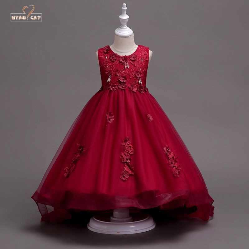 5b3284a097d Detail Feedback Questions about Kids dress Girl s wedding wear wine red handmade  beads wedding dress lace embroidered princess flower Valentine s Day Dress  ...