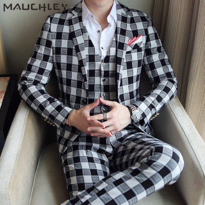 Chinese Style Classic Red Plaid Mens Suit Vest With Pants 3 Pieces Slim Fitted Wedding Suits for Men 2018 Boys Tuxedo Mauchley