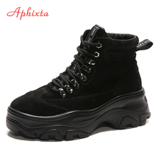 Aphixta Platform Ankle Boots Shoes Woman Cow Suede Equestrian Winter Thick Sole
