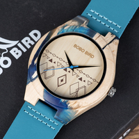 Reloj de madera y resina pulso cuero 1