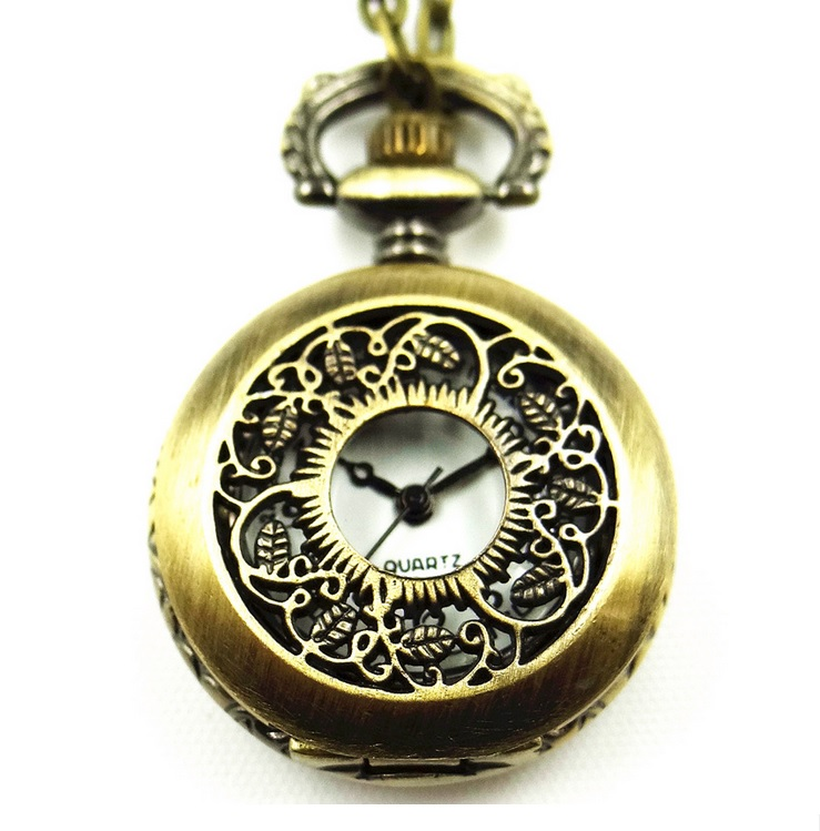 Bronze POCKET WATCH Women Dress Necklace Chain HOLLOWED LEAF Jewelry Woman Vintage Fashion