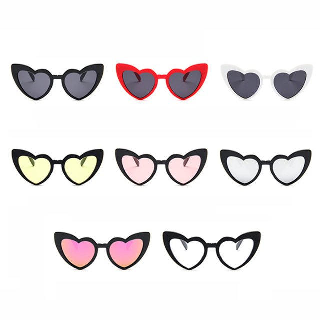 Coeur lunettes de Soleil Femmes marque designer Cat Eye Lunettes de Soleil Rétro Amour En Forme de Coeur Lunettes Dames Shopping Lunettes De Soleil UV400
