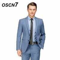 OSCN7 Suit Men Light Blue Wool Wedding Fashion Tailor Made Suit Slim Fit Leisure 2018 Costume Homme Mariage 15953