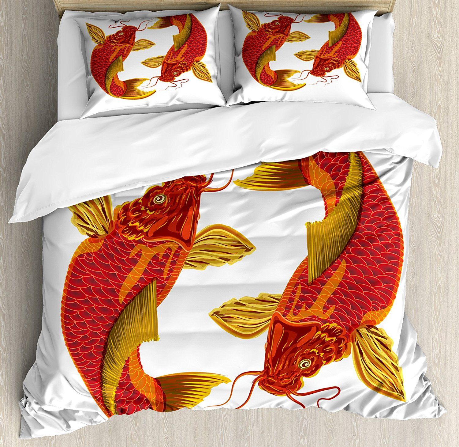Home Textile Bedding Japanese King Size Duvet Cover Set Carp Koi Fish Illustration With Warm Tones Oriental Symbols Of Union 4 Piece Bedding Set Modern Techniques