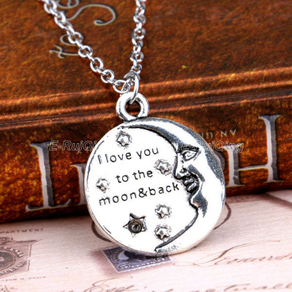 f2bd5af311 I Love You To The Moon Back Moon Face Necklaces Family Best Friend Gift  Jewelry Necklace