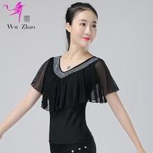 3b51672c1 New Latin Dancing Blouse Girls Rumba Samba Dancing Wear Adult Short Sleeve  Ballroom Dance Shirt V