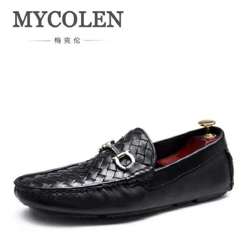 MYCOLEN 2017 New Genuine Leather Mens Shoes Casual Luxury Fashion Men Loafers Breathable Driving Shoes Slip On Moccasins mycolen men loafers leather genuine luxury designer slip on mens shoes black italian brand dress loafers moccasins mens