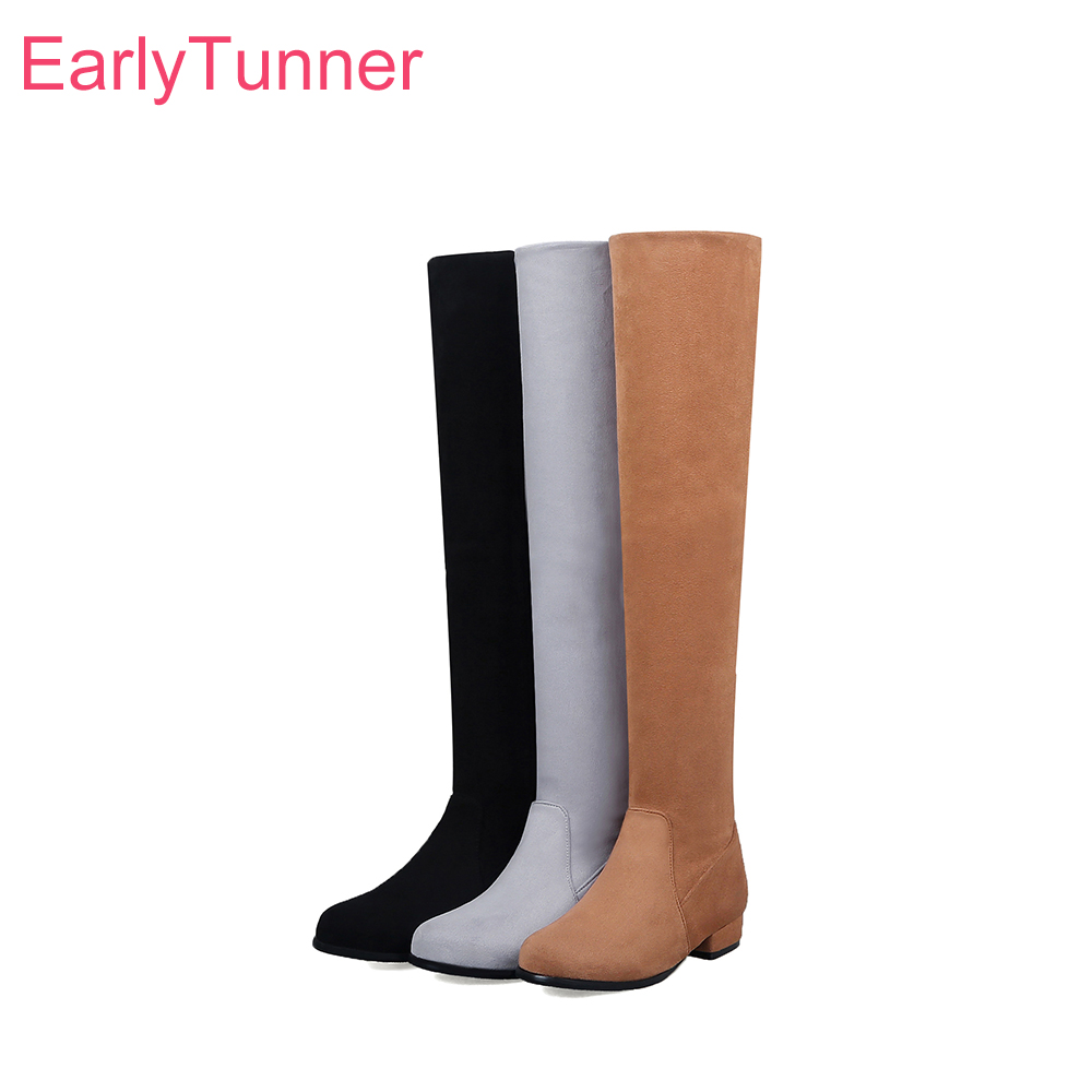 2018 Brand New Winter Black Yellow Women Thigh High Riding Boots Sexy Med Heels Lady Casual Shoes EP20 Plus Big Size 10 33 45 52 стоимость