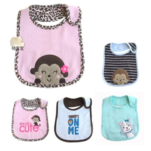 3f72c752d Terry Clothes Baby Girls Bibs Pinafore Embroidered Waterproof bibs & burp  cloths Newborn Saliva Towel dribble bibs
