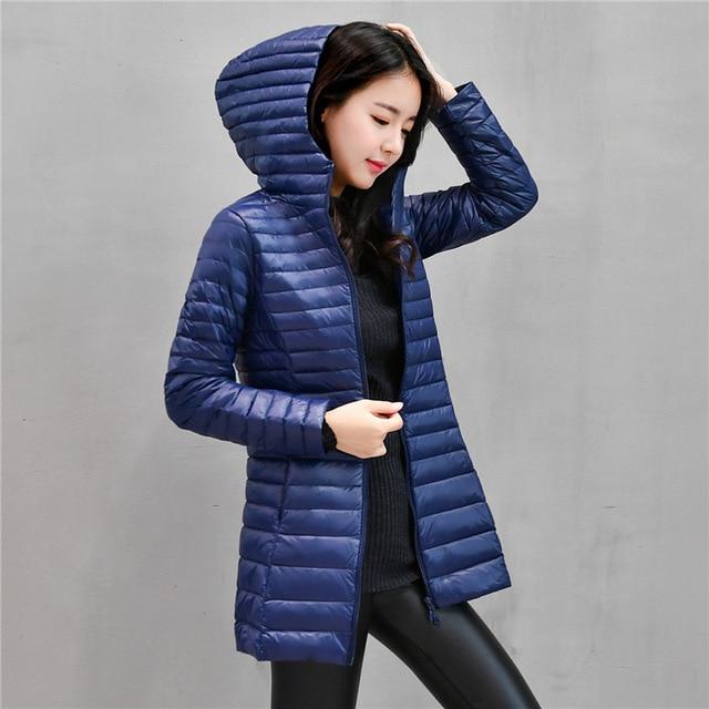 92c47c389c6138 90% blanc léger duvet de canard manteau vestes femmes manteau d'hiver  Parkas femme Ultra léger doudoune de base manteaux à capuche Long Outwear