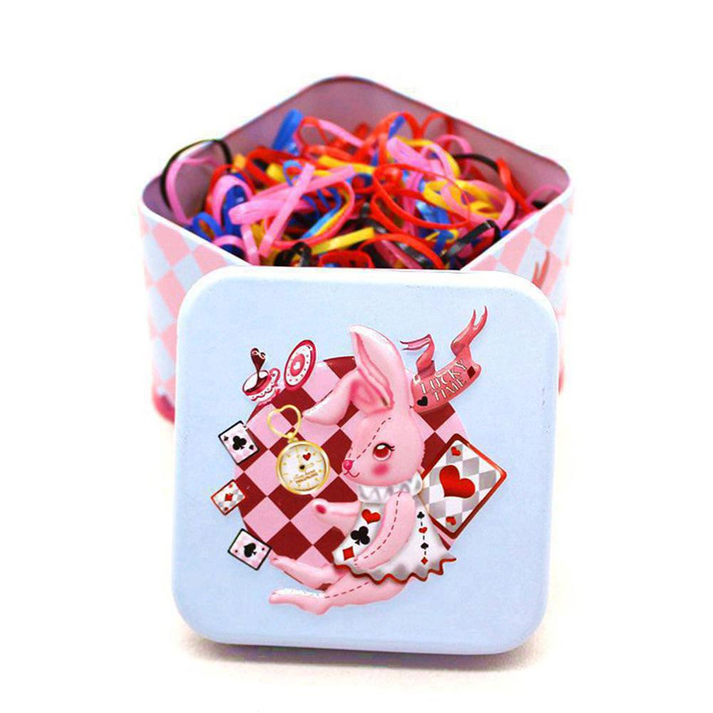 XIUFEN Children Candy Colour Disposable Hair-banding Rubber Band Hair Ring with Exquisite Cartoon Storage Box