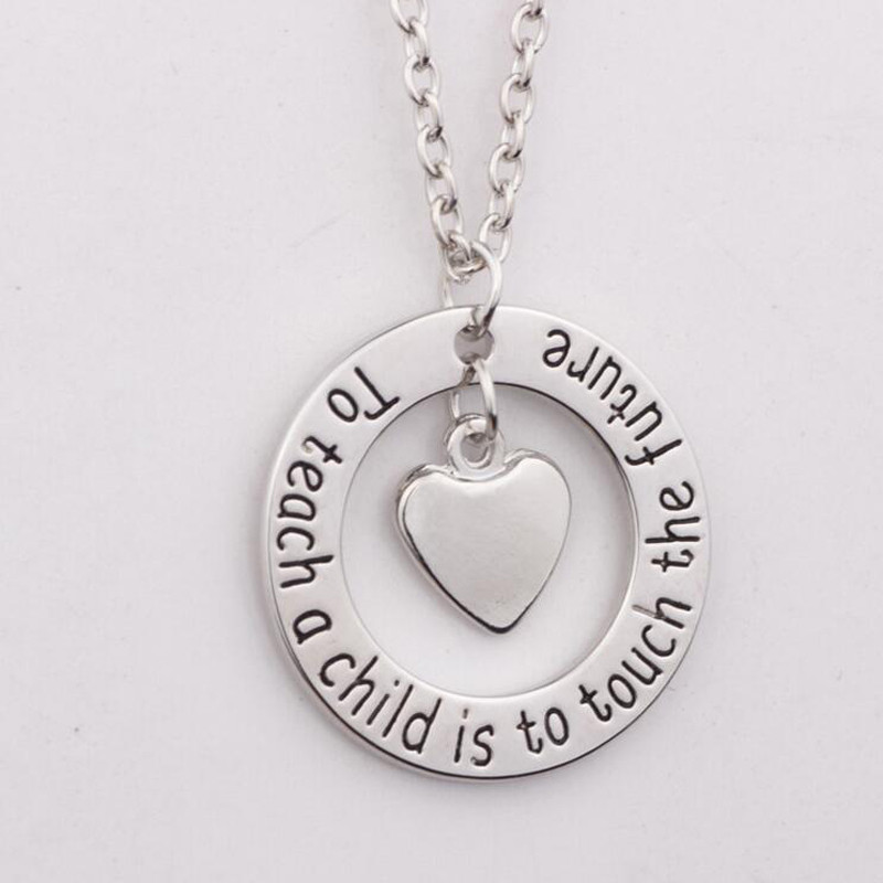 Teachers Necklace Teacher Gifts Nanny Necklace  To teach a child is to touch the future  Silver Heart Pendant Necklace