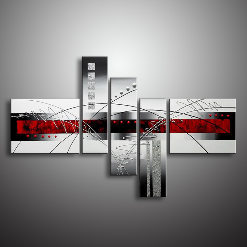 Oil Painting Hand Painted 5 Panel Set Abstract Modern Line Flower Wall Art Canvas Home Decoration