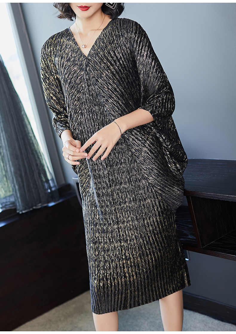 LANMREM 2020 Hohe Qualität Neue Mode V Kragen Falten Batwing Ärmel Lose Große Größe Kleid Für Frauen Drucken Kleidung Vestido YE853
