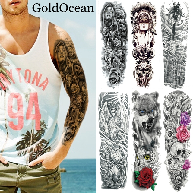 48X17CM Big Body Art Arm Fake Waterproof Tattoo Stickers Full ...