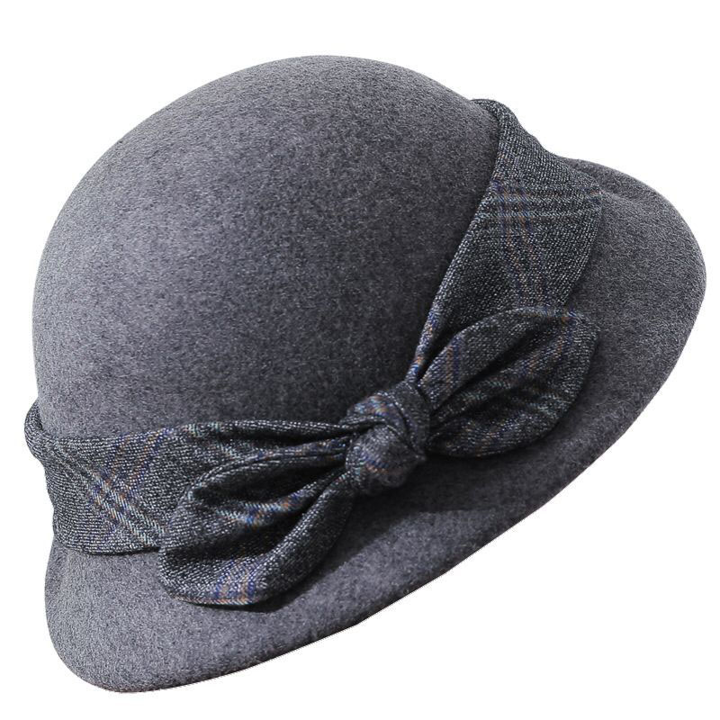 58986122e5f Elegant Bowknot Ladies Wool Felt Bowler Black Pink Fedora Hats For Women  Wide Brim Vintage Floppy