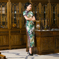2017 Spring Green Floral Print Vintage Short Sleeve Cheongsam Dress Chinese Traditional Dress Qipao Evening Dresses Gown
