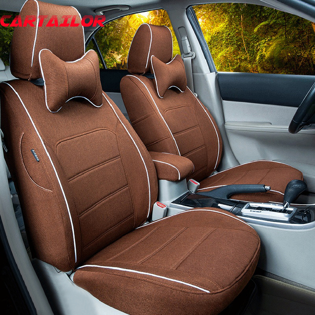 CARTAILOR Seat Covers Cars Accessories Fit For Infiniti M35 M37 M56 Flax Fabric Car Cover