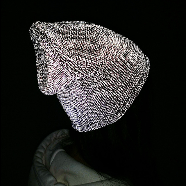 TOHUIYAN Reflective Beanie Hat For Men Women Autumn Winter Warm Knitted Hats Skullies Bonnet Chapeu Feminino Gorras Knit Ski Cap