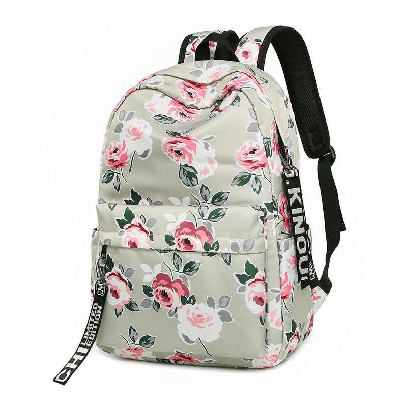 5385878526f7 ... Мода водостойкий нейлон для женщин рюкзак с цветочным принтом женский  школьный обувь для девочек ежедневно колледж ...