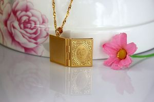 Image 5 - Fashion New Gold Color Islam Allah Muslim Necklace Quran Koran Book Loket Box Pendant With Chain Muhammad Religion Jewelry Gift