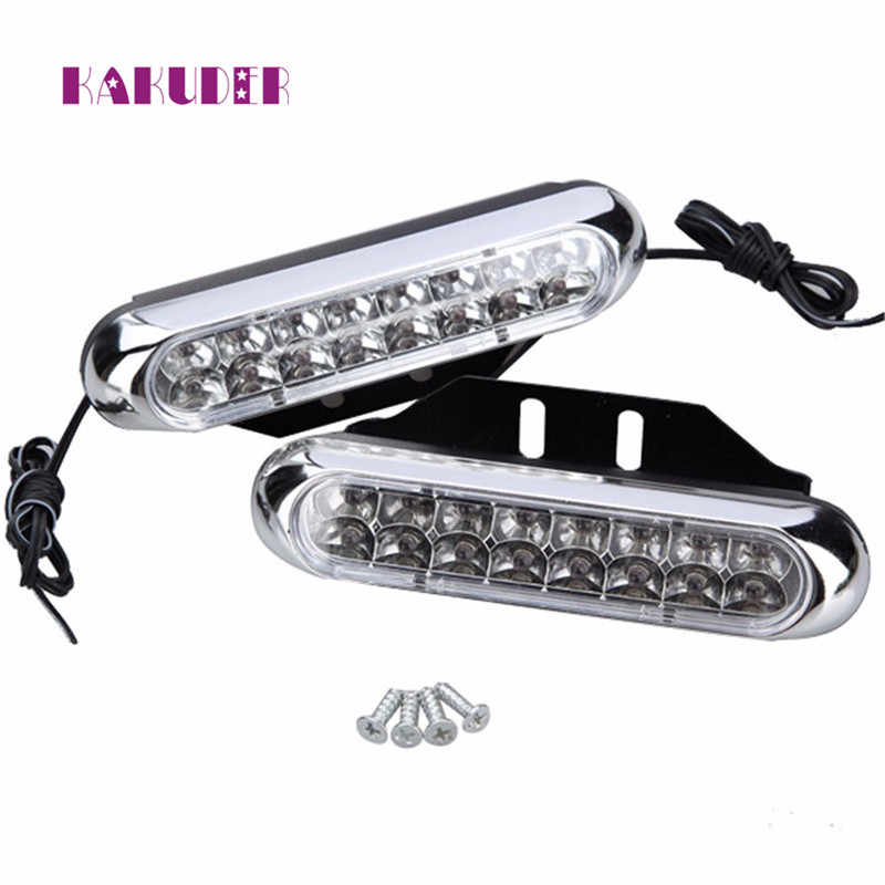 2x Universal 16 LED Car DRL Day Driving Daytime Running Fog White Light Lamp Luz Ligero quality NEW HOT styling 17augu9 2017 2pcs 30cm led white car flexible drl daytime running strip light soft tube lamp luz ligero new hot drop shipping oct10