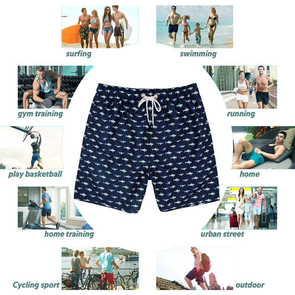 Male Novelty Beachwear Swimtrunks Whale Water Resistant Running Sports Beach Summer with Pockets