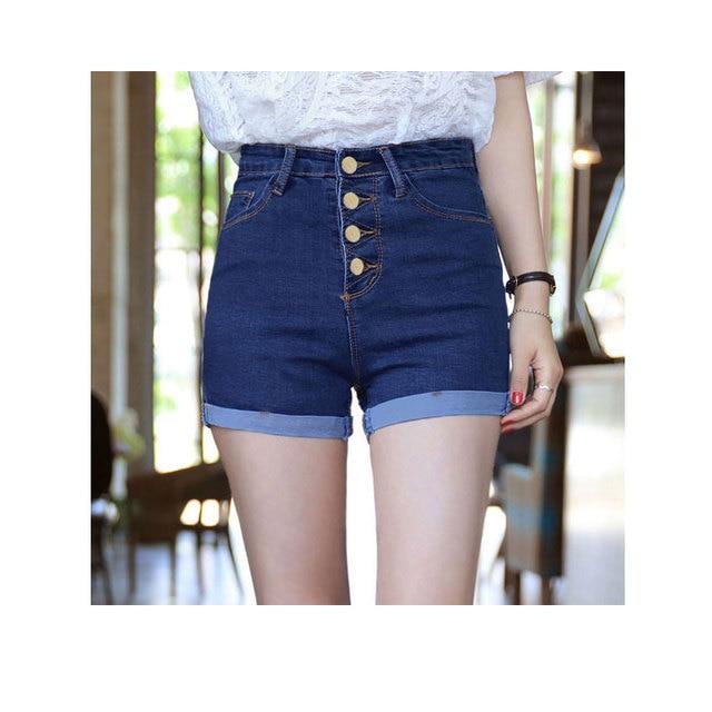 New Women's Denim Shorts Summer Thin 2017 Fashion Casual All-match High-waist Elasticity Slim Shorts Plus Size Female