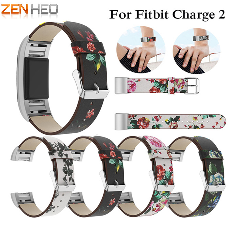 NEW Replacement Painted Strap For Fitbit Charge 2 Bracelet Rural Style Floral Leather Watch Band Wrist Strap Band Charge 2 Watch replacement luxury silicone watch band wrist strap for fitbit charge 2 bracelet580288