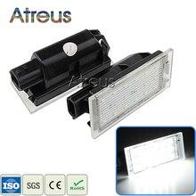 Atreus 2X LED License Number Plate Lights 12V White SMD lamp For Renault Megane 2 3 Clio Laguna 2 Twingo Master Vel Satis 2006