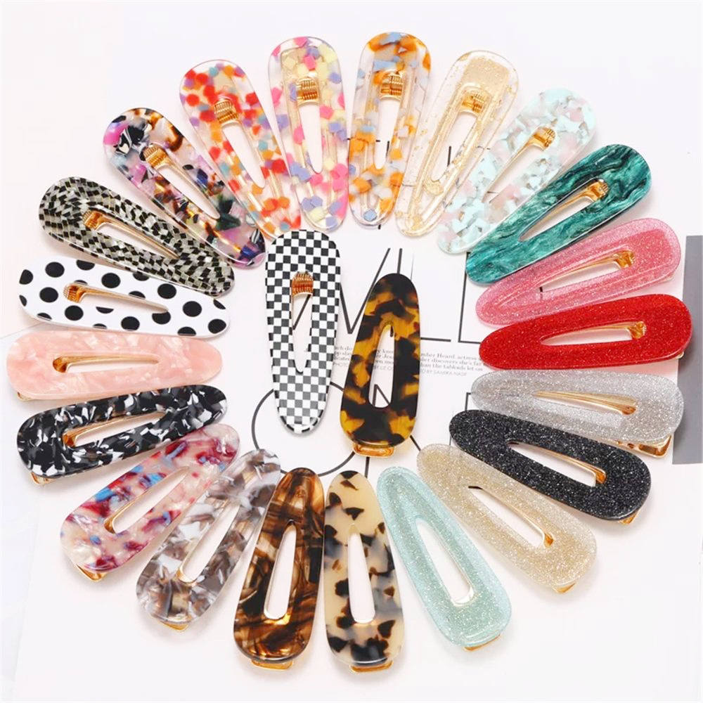 2019 New Acetate Hollow Waterdrop Hair Clips For Women Girls Sequins Geometric Hairpins Barrettes Hair Accessories
