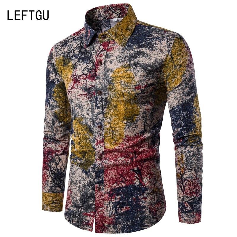 Лидер продаж! Мода 2017 г. с длинным рукавом Для мужчин рубашки Повседневное случайная лоскутное печати льняная рубашка Для мужчин бренд Большие размеры Camisas dx686